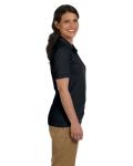 Black DryBlend Ladies' 6.5 oz. Piqué Sport Shirt as seen from the sleeveleft