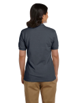 Charcoal DryBlend Ladies' 6.5 oz. Piqué Sport Shirt as seen from the back