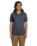 Charcoal DryBlend Ladies' 6.5 oz. Piqué Sport Shirt as seen from the front