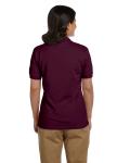 Maroon DryBlend Ladies' 6.5 oz. Piqué Sport Shirt as seen from the back