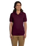 Maroon DryBlend Ladies' 6.5 oz. Piqué Sport Shirt as seen from the front