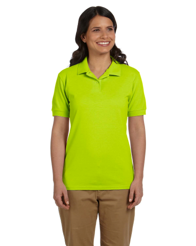 Safety Green DryBlend Ladies' 6.5 oz. Piqué Sport Shirt as seen from the front