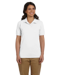 White DryBlend Ladies' 6.5 oz. Piqué Sport Shirt as seen from the front