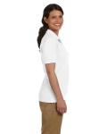 White DryBlend Ladies' 6.5 oz. Piqué Sport Shirt as seen from the sleeveleft