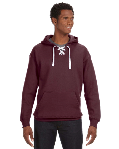 Maroon Sport Lace Hood as seen from the front