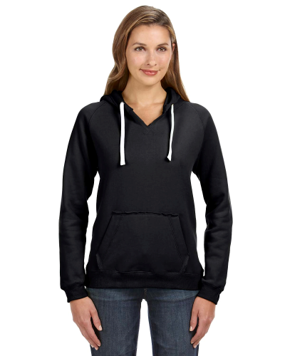 Black Ladies' Sydney Brushed V-Neck Hood as seen from the front