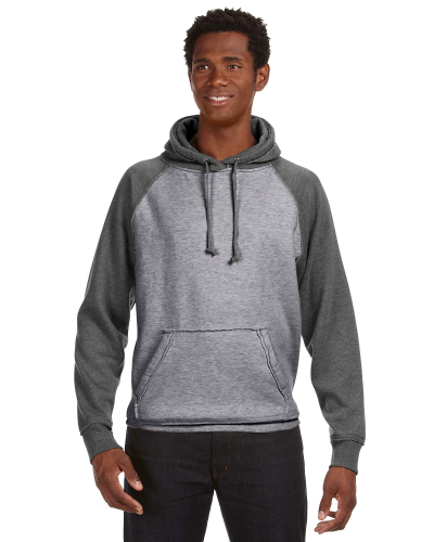 Smoke Htr Char Htr Vintage Heather Pullover Hood as seen from the front