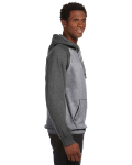 Smoke Htr Char Htr Vintage Heather Pullover Hood as seen from the sleeveleft