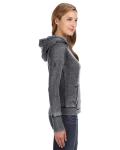 Dark Smoke Ladies' Zen Pullover Fleece Hood as seen from the sleeveleft