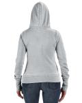 Cement Ladies' Zen Full-Zip Fleece Hood as seen from the back