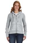 Cement Ladies' Zen Full-Zip Fleece Hood as seen from the front