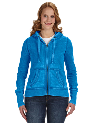 Oceanberry Ladies' Zen Full-Zip Fleece Hood as seen from the front