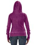 Very Berry Ladies' Zen Full-Zip Fleece Hood as seen from the back