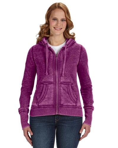 Very Berry Ladies' Zen Full-Zip Fleece Hood as seen from the front