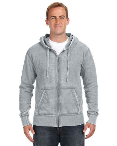 Cement Vintage Zen Full-Zip Fleece Hood as seen from the front