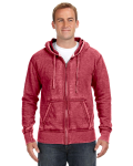 Simply Red Vintage Zen Full-Zip Fleece Hood as seen from the front