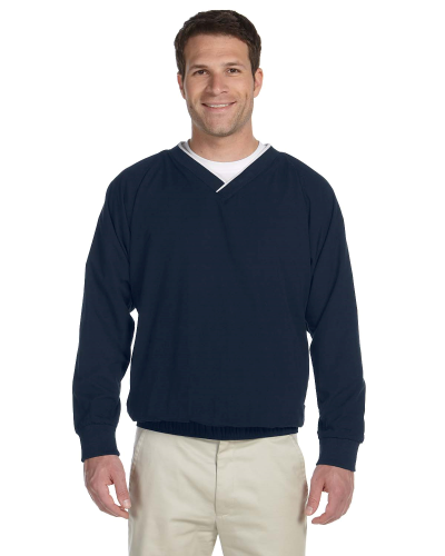 Navy White Microfiber Wind Shirt as seen from the front