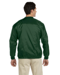 Dark Green Athletic V-Neck Pullover Jacket as seen from the back