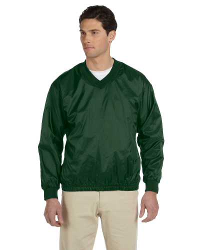 Dark Green Athletic V-Neck Pullover Jacket as seen from the front