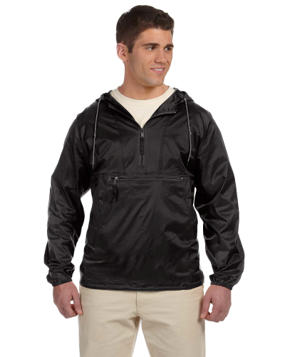 Black Packable Nylon Jacket as seen from the front