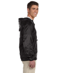 Black Packable Nylon Jacket as seen from the sleeveleft