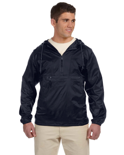 Navy Packable Nylon Jacket as seen from the front