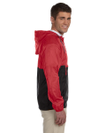 Red Black Packable Nylon Jacket as seen from the sleeveleft