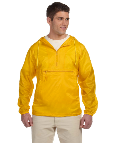 Sunray Yellow Packable Nylon Jacket as seen from the front