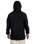 Black Men's Essential Rainwear as seen from the back