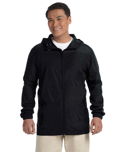 Black Men's Essential Rainwear as seen from the front
