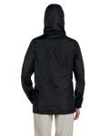 Black Ladies' Essential Rainwear as seen from the back