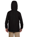 Black Youth Essential Rainwear as seen from the back