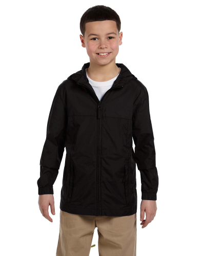 Black Youth Essential Rainwear as seen from the front