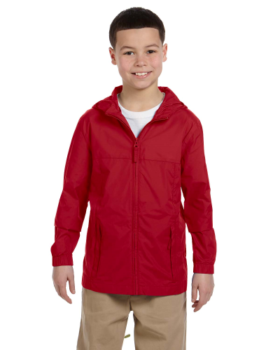 Red Youth Essential Rainwear as seen from the front