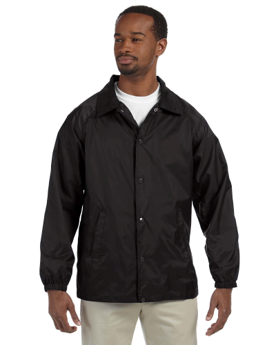 Black Nylon Staff Jacket as seen from the front