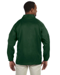 Dark Green Nylon Staff Jacket as seen from the back