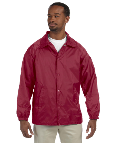 Maroon Nylon Staff Jacket as seen from the front