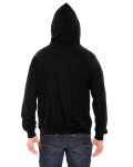 Black MADE IN USA Unisex Fine Jersey Zip Hoodie as seen from the back