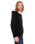 Black MADE IN USA Unisex Fine Jersey Zip Hoodie as seen from the sleeveleft