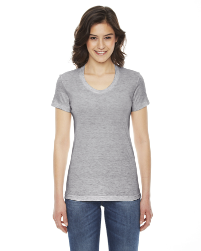 Athletic Grey MADE IN USA Ladies' Triblend Short-Sleeve Track T-Shirt as seen from the front