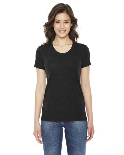 Tri Black MADE IN USA Ladies' Triblend Short-Sleeve Track T-Shirt as seen from the front