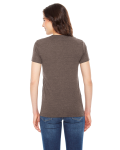 Tri Coffee MADE IN USA Ladies' Triblend Short-Sleeve Track T-Shirt as seen from the back