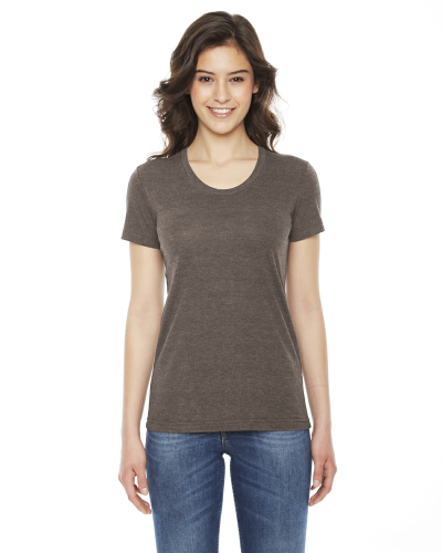 Tri Coffee MADE IN USA Ladies' Triblend Short-Sleeve Track T-Shirt as seen from the front