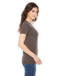 Tri Coffee MADE IN USA Ladies' Triblend Short-Sleeve Track T-Shirt as seen from the sleeveleft