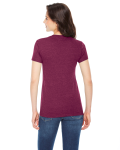 Tri Cranberry MADE IN USA Ladies' Triblend Short-Sleeve Track T-Shirt as seen from the back