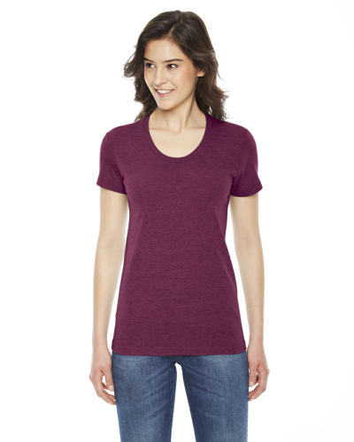 Tri Cranberry MADE IN USA Ladies' Triblend Short-Sleeve Track T-Shirt as seen from the front