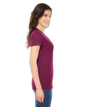 Tri Cranberry MADE IN USA Ladies' Triblend Short-Sleeve Track T-Shirt as seen from the sleeveleft