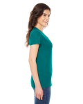 Tri Evergreen MADE IN USA Ladies' Triblend Short-Sleeve Track T-Shirt as seen from the sleeveleft