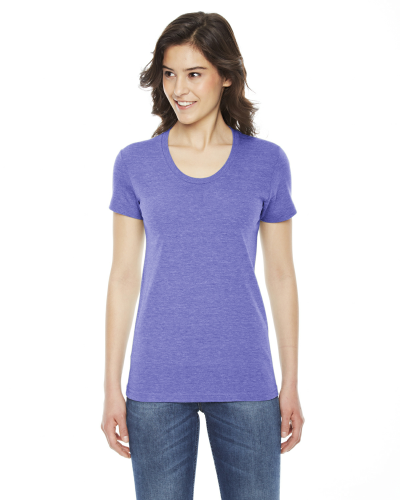 Tri Orchid MADE IN USA Ladies' Triblend Short-Sleeve Track T-Shirt as seen from the front