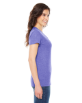 Tri Orchid MADE IN USA Ladies' Triblend Short-Sleeve Track T-Shirt as seen from the sleeveleft